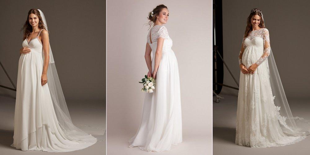 Беременные: выбор подходящего свадебного платья